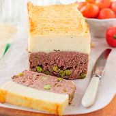 image of meatloaf  - Beef Meatloaf with Green Peas Topped with Cheesy Mashed Potato square - JPG