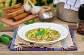 stock photo of sorrel  - A Plate of Summer (Spring) Chunky Sorrel Soup ** Note: Shallow depth of field - JPG