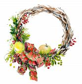 foto of christmas wreath  - hand painted watercolor wreath - JPG