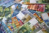 stock photo of currency  - Photo of different swiss franc banknotes  - JPG