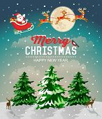 stock photo of christmas claus  - Snowy Christmas landscape - JPG
