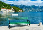 image of yugoslavia  - The promenade of Perast with the cozy bench for enjoying the coast and mountains Montenegro - JPG