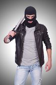 image of hooligans  - Male hooligan with bat on white - JPG