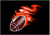 pic of flames  - Flaming rugby ball speeding through the air with a motion trail of flames - JPG
