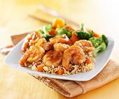 image of shrimp  - shrimp and fried rice teriyaki dish - JPG