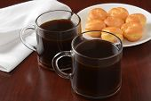 stock photo of cream puff  - Black coffee and a plate of cream puffs  - JPG