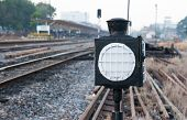 image of railroad-sign  - The lighting sign for a train old sign - JPG