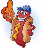 stock photo of wiener dog  - A hot dog sports fan with a big orange foam finger - JPG