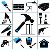 stock photo of hammer drill  - Set of icons on a theme of  - JPG