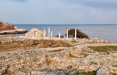 stock photo of sevastopol  - Colonnade in ruins of the Ancient Greek city of Chersonese early in the morning Sevastopol the Crimea - JPG