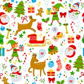 picture of ginger bread  - colorful seamless pattern with cute Christmas symbols - JPG
