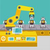 stock photo of manufacturing  - Robotic arm assemble line mechanic manufacturing factory robot operator production concept flat vector illustration - JPG