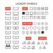 pic of laundromat  - Set of  line simple washing instruction symbols  - JPG