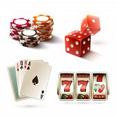 foto of  realistic  - Casino design elements with gambling poker play realistic icons set isolated vector illustration - JPG