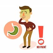 picture of stomach  - Sick stomach ache nausea male person character with pill vector illustration - JPG