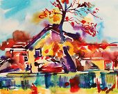 picture of impressionist  - original watercolor abstract rural landscape - JPG