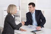 stock photo of handshake  - Successful business meeting with handshake - JPG