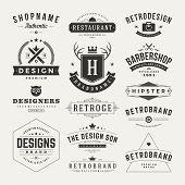 foto of barber  - Retro Vintage Insignias or Logotypes set - JPG