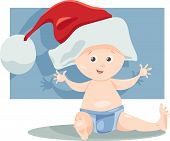 stock photo of christmas baby  - Cartoon Illustration of Cute Little Baby Boy in Santa Claus Hat for Christmas - JPG