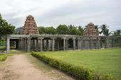 image of tamil  - New temple towers inside old ruins at Gingee Fort in Tamil Nadu east of Thiruvannamalai - JPG