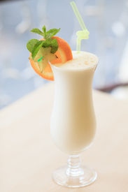 pic of cocktail menu  - Milk cocktail with orange and carom - JPG