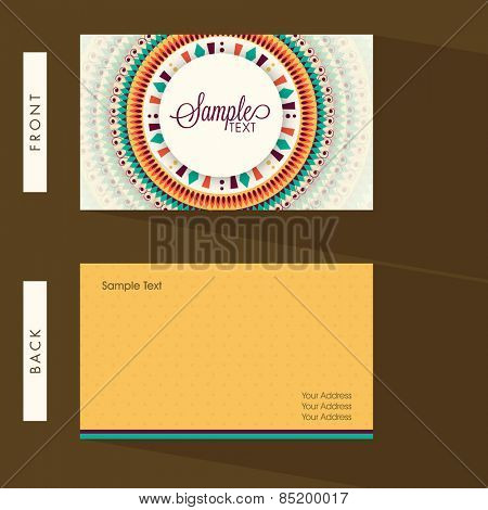 Colorful floral design decorated business card with place holders for your professional details.