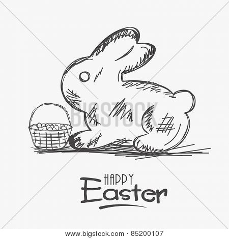 Happy Easter celebration with sketch of rabbit and a basket full of eggs on white background.