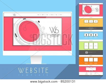 Beautiful website home screen user interface design with multiple features and color choice.
