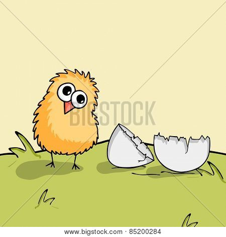 Happy Easter celebration with cute chick with cracked egg on nature background.