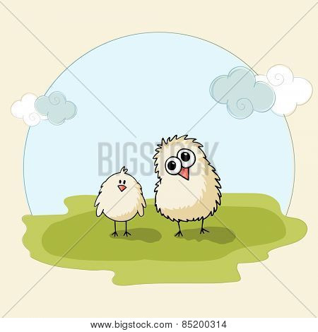Happy Easter celebration with cute chicks on nature background.