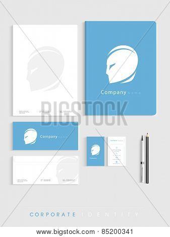 Corporate identity kit for business in blue and white color includes Letterhead, File Folder, Envelopes and Visiting Cards.