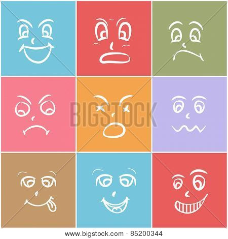Set of different facial expressions on colorful background.