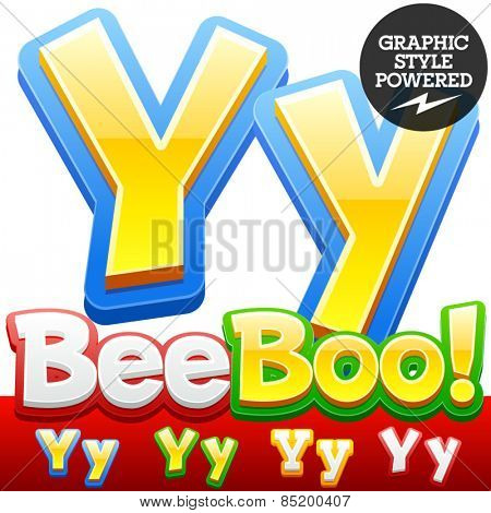 Vector set of 3D colorful children font in cartoon style. Optional different colors. Letter Y