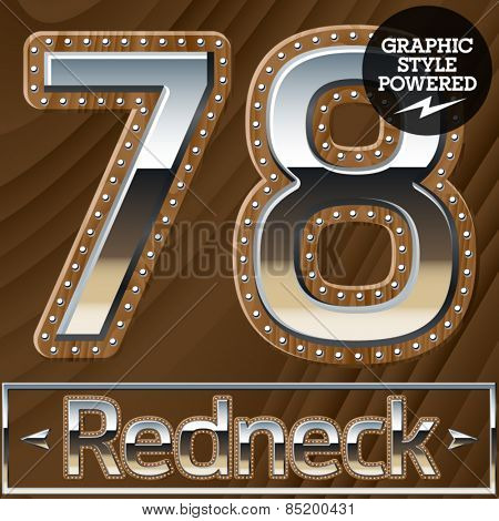 Vector set of silver country style font with wooden rivet border. Numbers 7 8