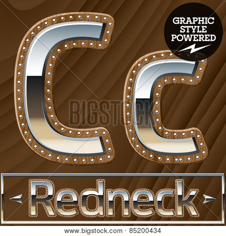 Vector set of silver country style font with wooden rivet border. Letter C