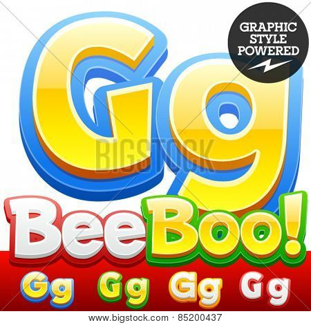Vector set of 3D colorful children font in cartoon style. Optional different colors. Letter G
