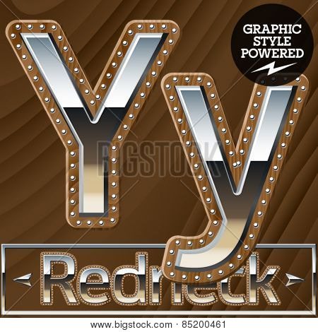 Vector set of silver country style font with wooden rivet border. Letter Y