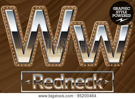 Vector set of silver country style font with wooden rivet border. Letter W