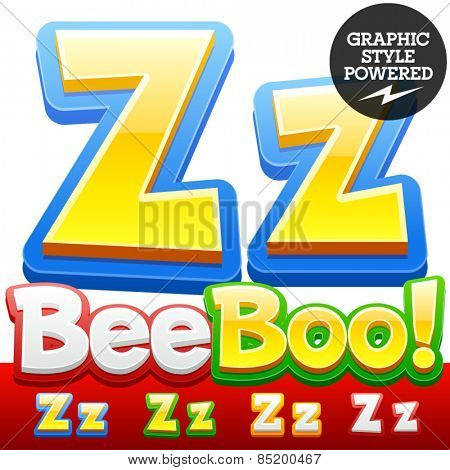 Vector set of 3D colorful children font in cartoon style. Optional different colors. Letter Z