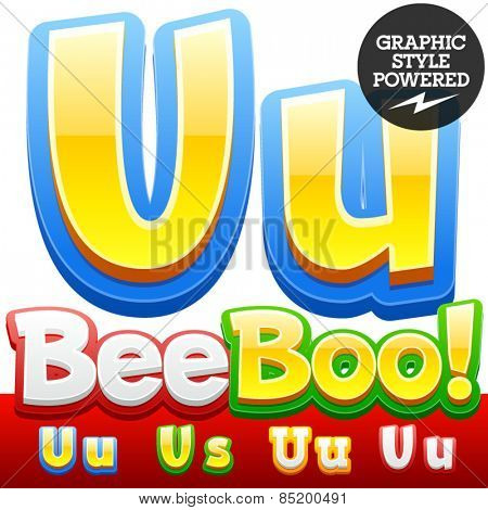 Vector set of 3D colorful children font in cartoon style. Optional different colors. Letter U