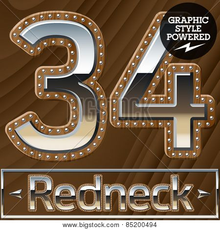 Vector set of silver country style font with wooden rivet border. Numbers 3 4