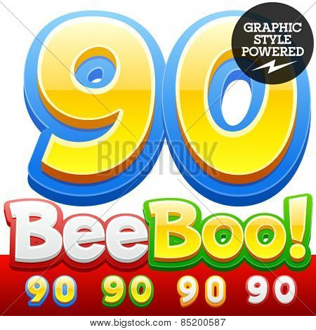 Vector set of 3D colorful children font in cartoon style. Optional different colors. Numbers 9 0