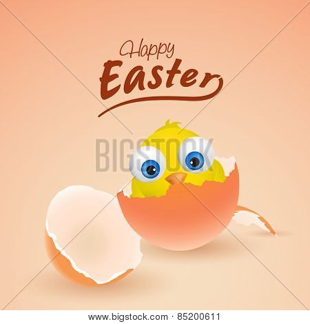 Happy Easter celebration with cute chick coming out from egg, can be used as greeting or invitation card design.