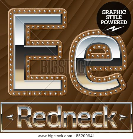 Vector set of silver country style font with wooden rivet border. Letter E
