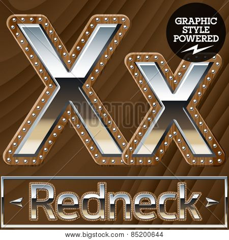 Vector set of silver country style font with wooden rivet border. Letter X