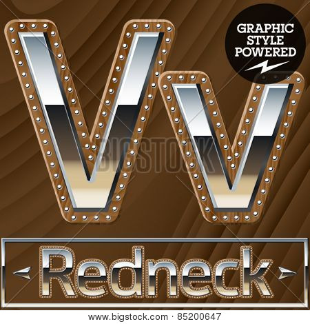 Vector set of silver country style font with wooden rivet border. Letter V