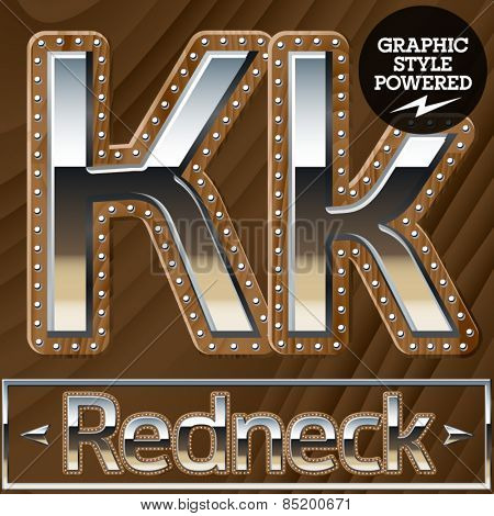 Vector set of silver country style font with wooden rivet border. Letter K