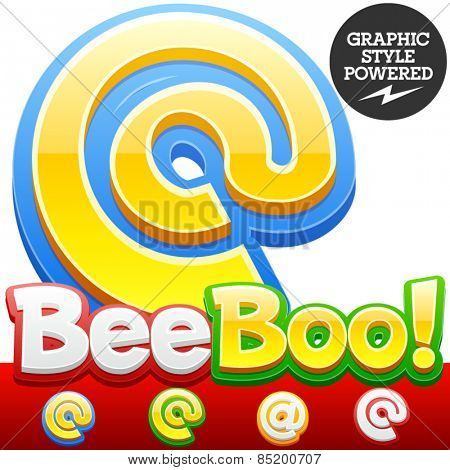 Vector set of 3D colorful children font in cartoon style. Optional different colors. Symbols