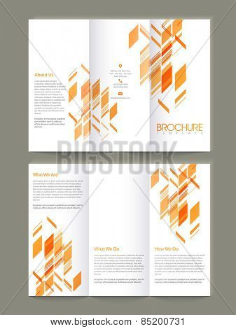 Tri Fold business brochure, template or flyer presentation with abstract design in orange color.