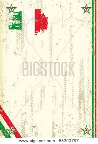 Italian retro background. A vintage background with a Italian flag and a texture for your advertising